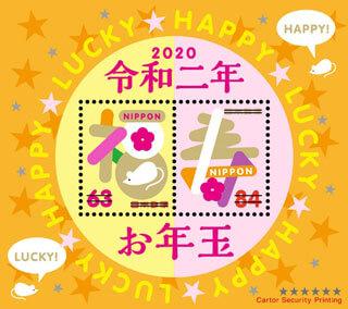 福寿とねずみの描かれたお年玉賞品の切手