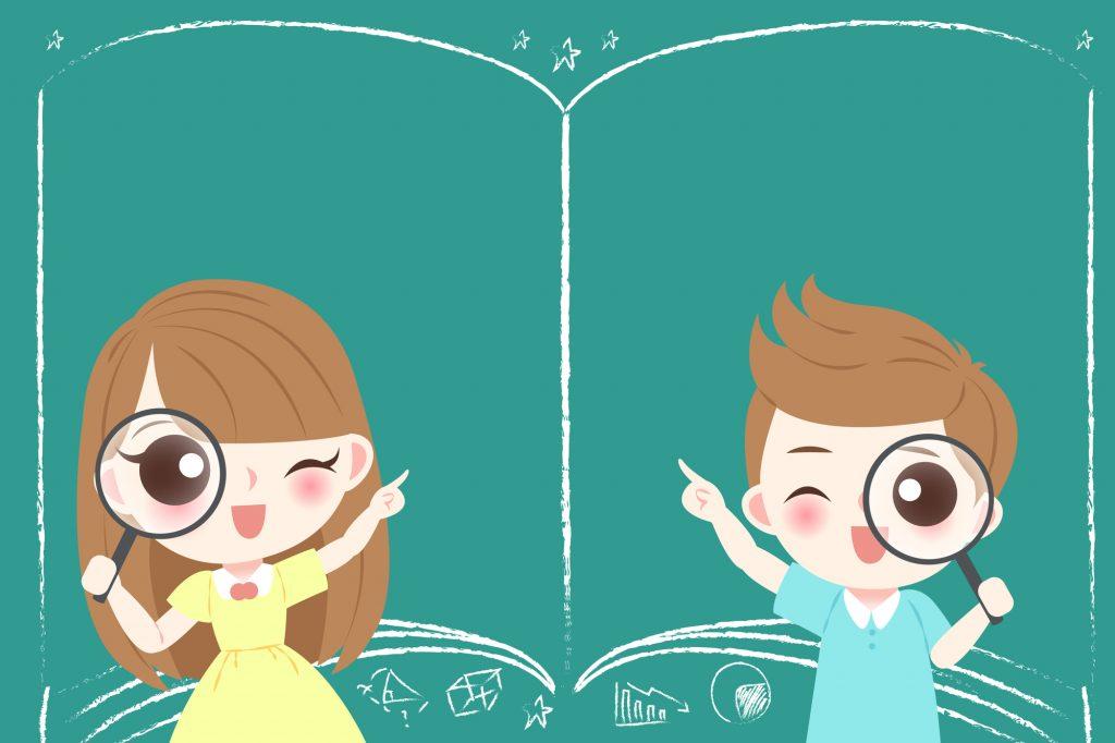 男の子と女の子が虫眼鏡で探している